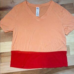 Joy Lab v-neck orange t-shirt with sheer hem